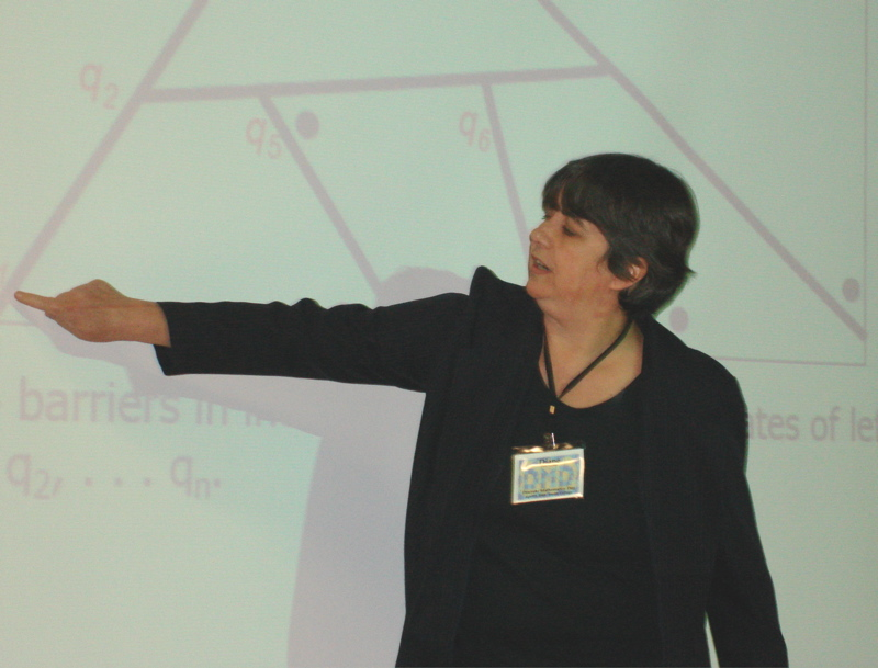Diane Souvaine sets up an algorithm to connect sites while minimizing barrier crossings
